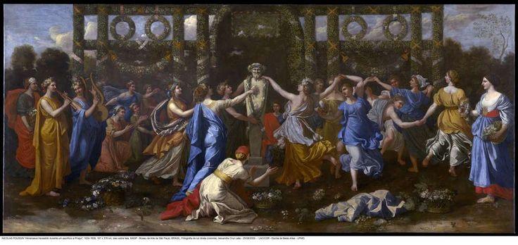 Nicolas Poussin. Himeneu Travestido Assistindo a uma Dança em Honra a Príapo, 1634-38. Óleo sobre tela. 167 x 376 cm. MASP.