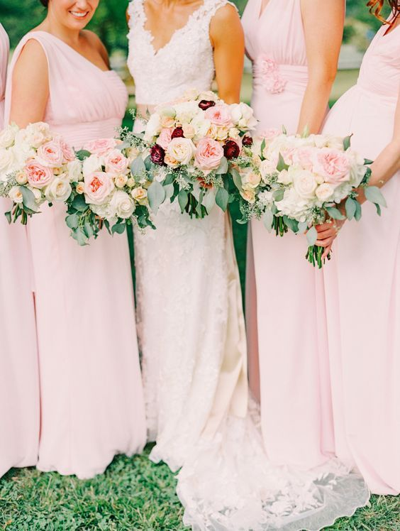 blush bridesmaids' gowns and bouquets, touches of burgundy for the bridal…