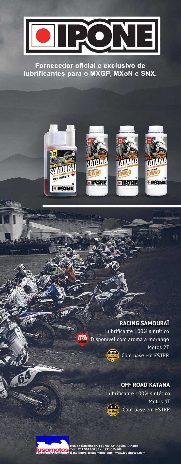 IPONE   Fornecedor oficial e exclusivo de lubrificantes para o MXGP, MXoN, SNX e Red Bull MotoGP Rookies Cup. #ipone #lusomotos #lubrificante #katana #ester #morango #samourai #sintético #motos #offroad #racing