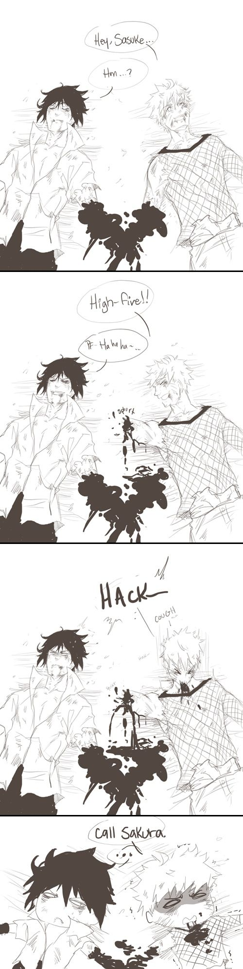 Naruto and Sasuke Haha in the beginning Sakura was useless, now look they're calling for help