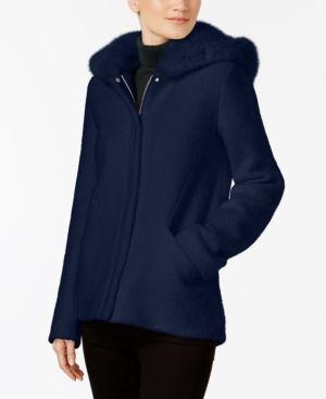 Laundry by Shelli Segal Faux-Fur-Hood Coat - Blue XXL