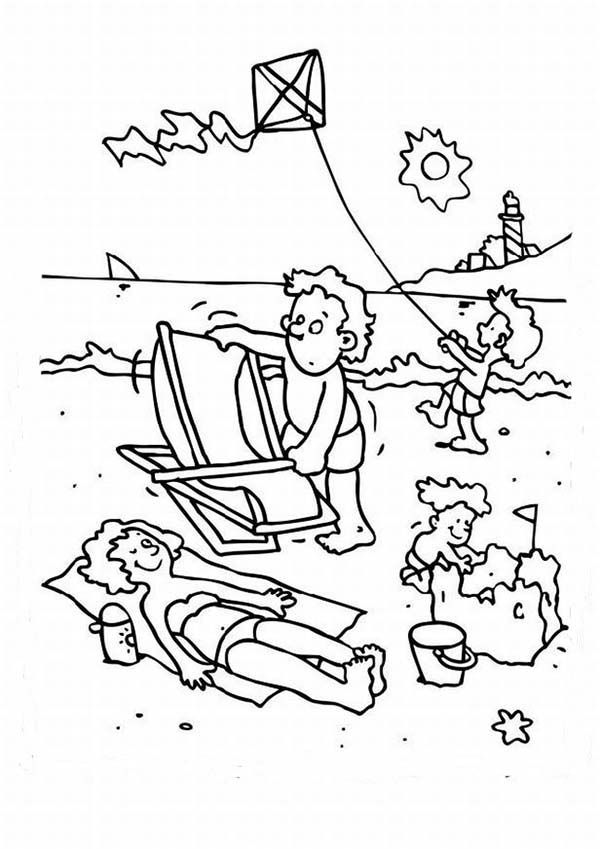 Beach Vacation A Happy Beach Activities For A Family Coloring