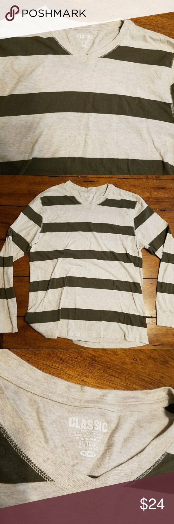Bogo sale! Mens Old Navy Shirt Mens cream & army green striped long sleeve shirt by old navy. New without tags. Excellent condition. Entire closet bogo 50% off. Bundle and use the offer button. Old Navy Shirts Tees - Long Sleeve