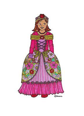 Karen`s Paper Dolls: Princesses Dressed to Print in Colours. Prinsesser klædt på til at printe i farver.
