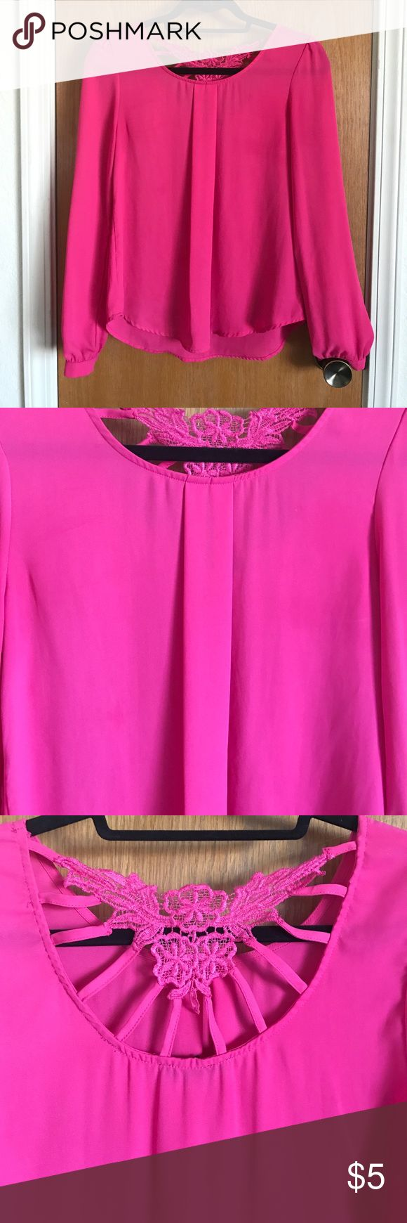 Pink blouse with lace cutout Hot pink blouse with lace cutout on the back. Great for the office or a night out. Long sleeves with pink button. Size small. Pleat in front Tops Blouses