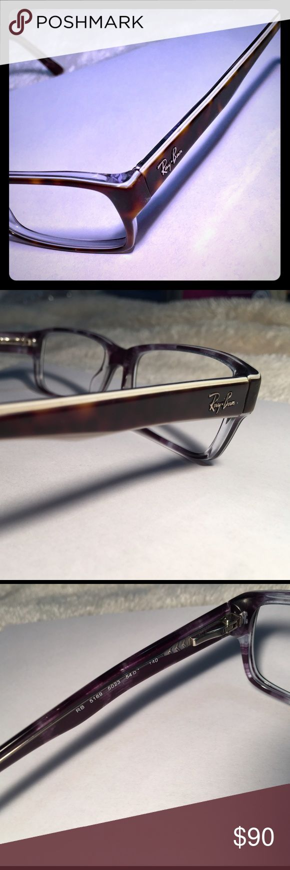 Ray Ban Eyeglasses Frames Style Code: RB 5169 5023. These Authentic Ray Ban Eyeglass frames are in great condition having been used for a year. The frames have incurred some minimal scratches from everyday use. The arms have been straightened. The frames have been cleaned and polished. The eyeglass frame bridge size measurements have rubbed off due to everyday wear.  These particular frames do NOT come with: -Lenses -Original Ray Bans Case -Original Ray Bans Cleaning Cloth Ray-Ban…