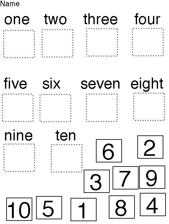 Word Numbers Worksheets — Kindergarten Coloring