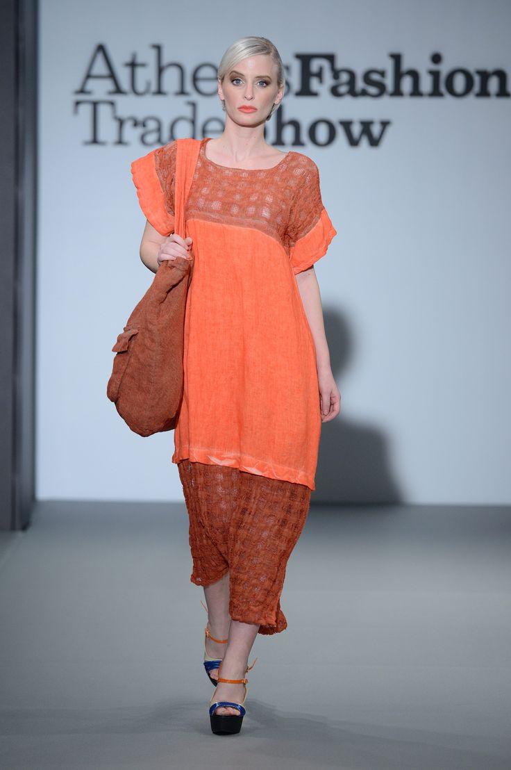 Eclectia:Elegant stylish coral linen dress. 100% Natural fabrics