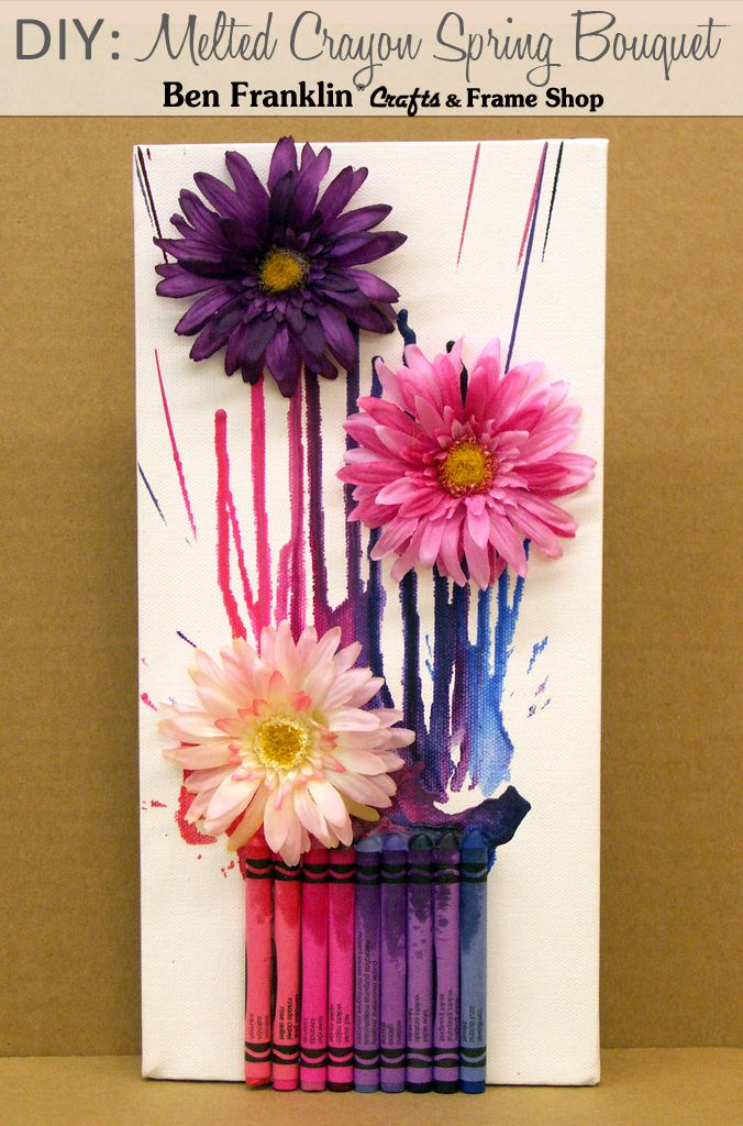 DIY: Melted Crayon Spring Bouquet Canvas #craft #tutorial || Supplies available at our Ben Franklin Crafts store in Monroe, WA. 360-794-6745