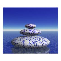 #Zen Stone Blue Purple #Ocean Love #Peace Inspiration #Poster