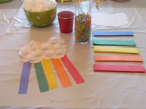 Rainbow crafts (from an impressive toddler rainbow party)