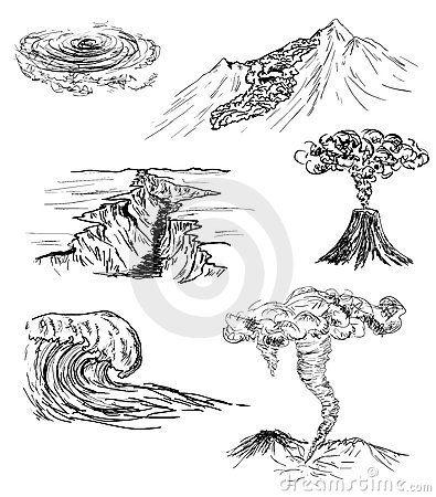 schets van zes natuurrampen