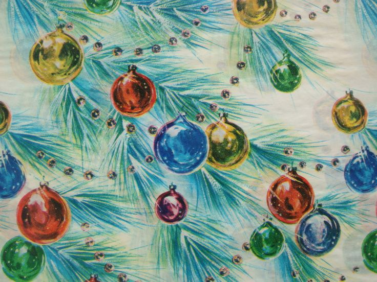 Vintage Gift Wrapping Paper - Pine Boughs Decorated with Christmas Ornaments