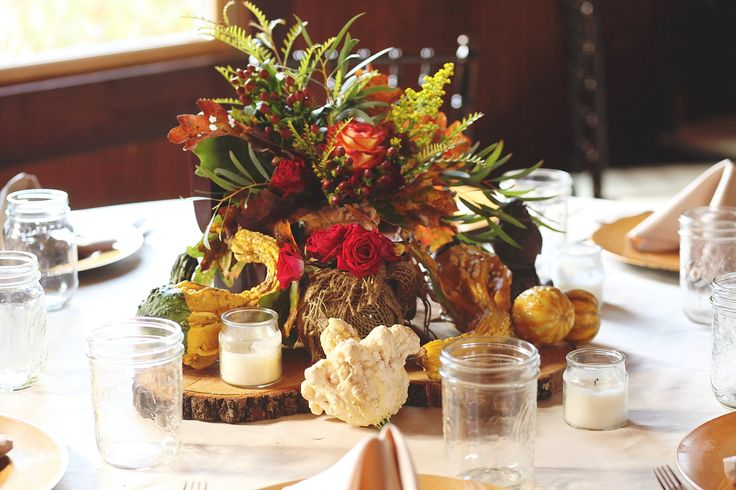 Rustic Fall Centerpieces with Wood and Gourds