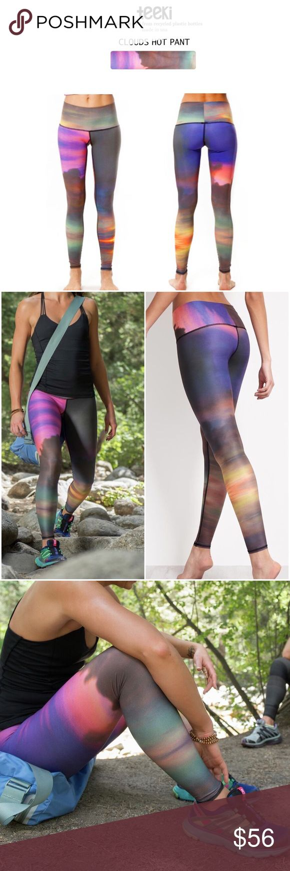 """Teeki Cloud Yoga Hot Pants Teeki cloud pattern yoga hot pants, leggings. Teeki makes beautiful clothing for yoga and lifestyle wear. Their Hot Pants such as the """"Clouds"""" Hot Pants are perfect for hot or bikram yoga. 4-way stretch. Awesome lightweight feel that holds you in & dries quickly, beautiful eye-popping print is the material. By wearing these pants you'll be recycling 25 plastic bottles.  Why we love: The most beautiful yoga leggings we've seen for awhile Fabric: 79% recycled…"""
