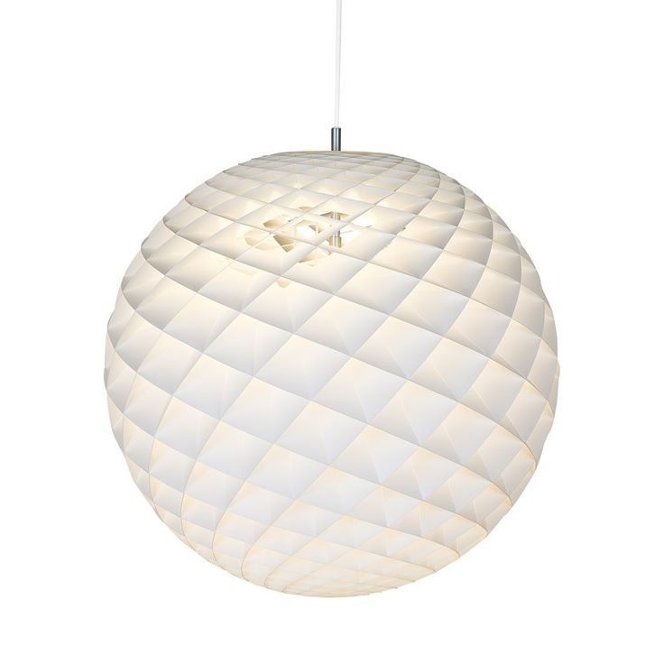 Louis Poulsen Patera Pendant Light White - Diamond sculptural matt globe pendant light by Louis Poulsen. Created by Danish designer Oivind Slaatto, Patera is a unique lighting solution for contemporary settings. A mathematical design formed from a complex arrangement of diamond shaped panels, Pedera creates a three-dimensional orb which emenates controlled, glare-free lighting into the home. Crafted in matt white PVC, each cell has been carefully designed to capture light and illuminate t...