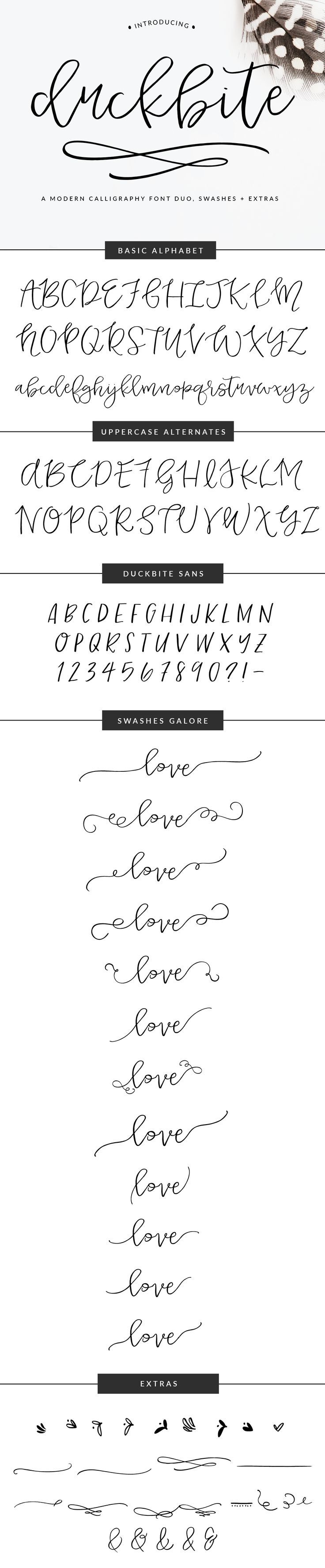 Meet Duckbite... a lovely hand drawn calligraphy font design. Perfect for wedding invitations, personal branding, and more! So many fun swirls and swashes to add to the font's letters too.