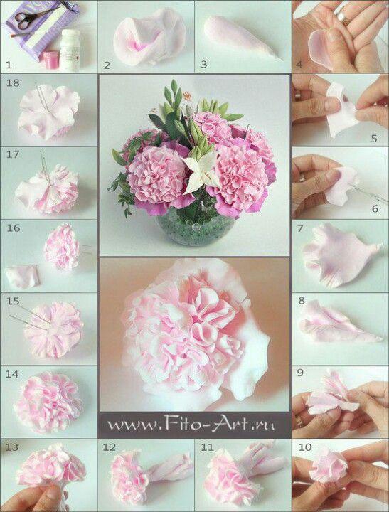 Cake Art Flower Moulding Paste Instructions : peony tutorial Fondant Anleitung Pinterest Clay ...