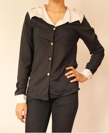 Colorblocked Shirt - Black