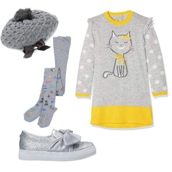 Vestito con gattino, grigio e giallo, calze con disegnini