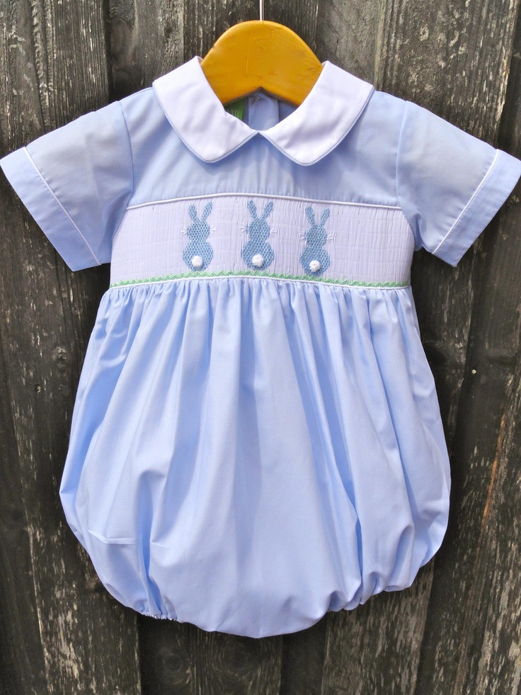 Smocked Bunny Boy Bubble Easter Smocked Baby Clothes