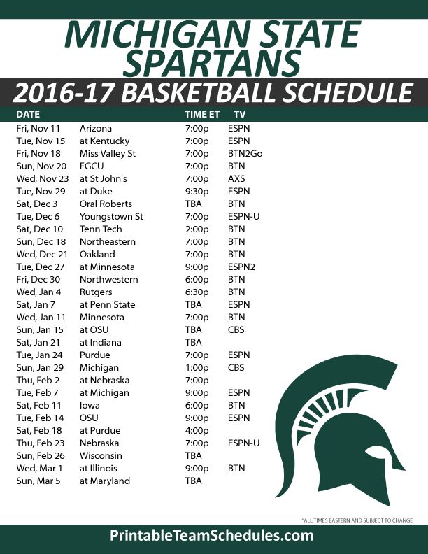 Michigan State Spartans Basketball Schedule 2016-17.  Print Here - http://printableteamschedules.com/NCAA/michiganstatespartansbasketball.php