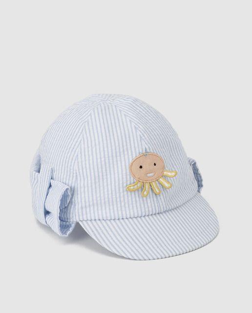 Gorra de bebé niño B con B con path pulpo azul 14a4a8e61b9