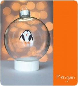 thumb print ornaments ~ what a cute idea ~ Penguin's first Christmas