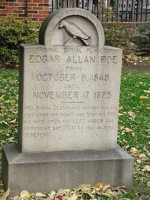 The Poe Toaster is an unofficial nickname given to a mysterious person (or more probably two persons in succession, possibly father and son) who, for over seven decades, paid an annual tribute to American author Edgar Allan Poe by visiting the stone marking his original grave in Baltimore, Maryland in the early hours of January 19, Poes birthday. The shadowy figure, dressed in black with a wide-brimmed hat and white scarf, would pour himself a glass of cognac and raise a toast to Poes