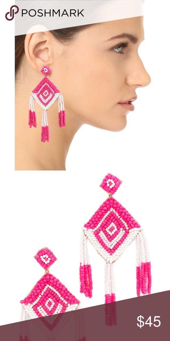 Deepa Gurnani Statement Earrings Statement earrings in bright and vivid pink and white beading. Retail value $60. Deepa Gurnani Jewelry Earrings