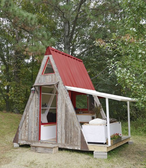 """Designed by Derek """"Deek"""" Diedricksen of Relax   Shacks.com and built by Joe Everson of Tennessee Tiny Homes, this transforming micro A-frame cost only $1,200 to construct."""