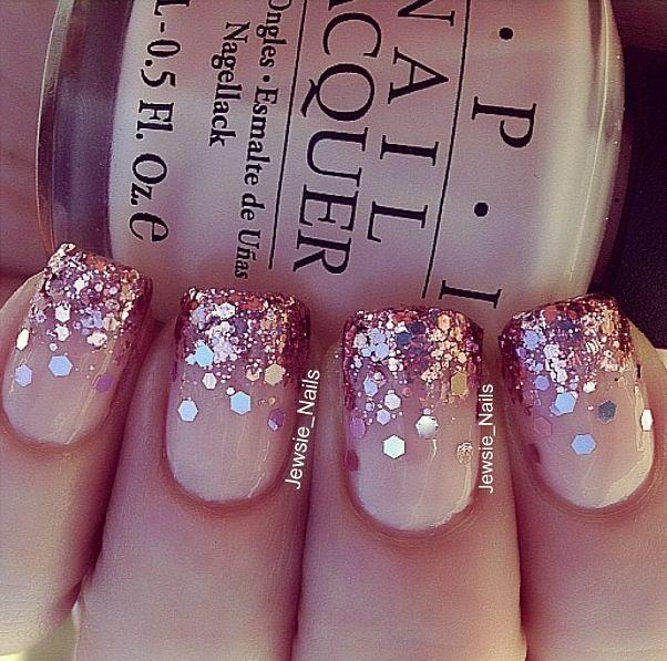beautiful glitter manicure with OPI polish