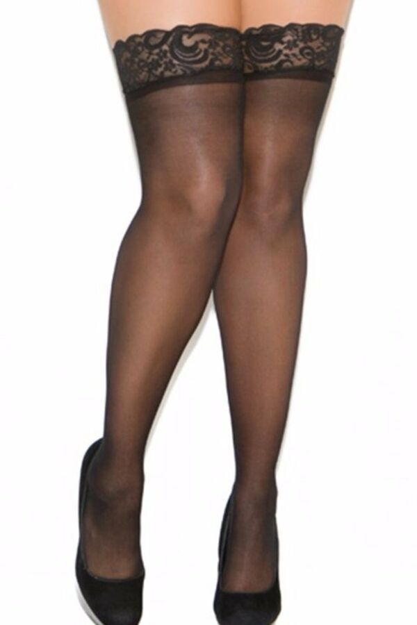 7fa66bab136086 Plus Size Sheer Queen Thigh High Hi Lace Top Back Seam Nylons Stockings  Hosiery 846073001366 eBay#Thigh#High#Lace