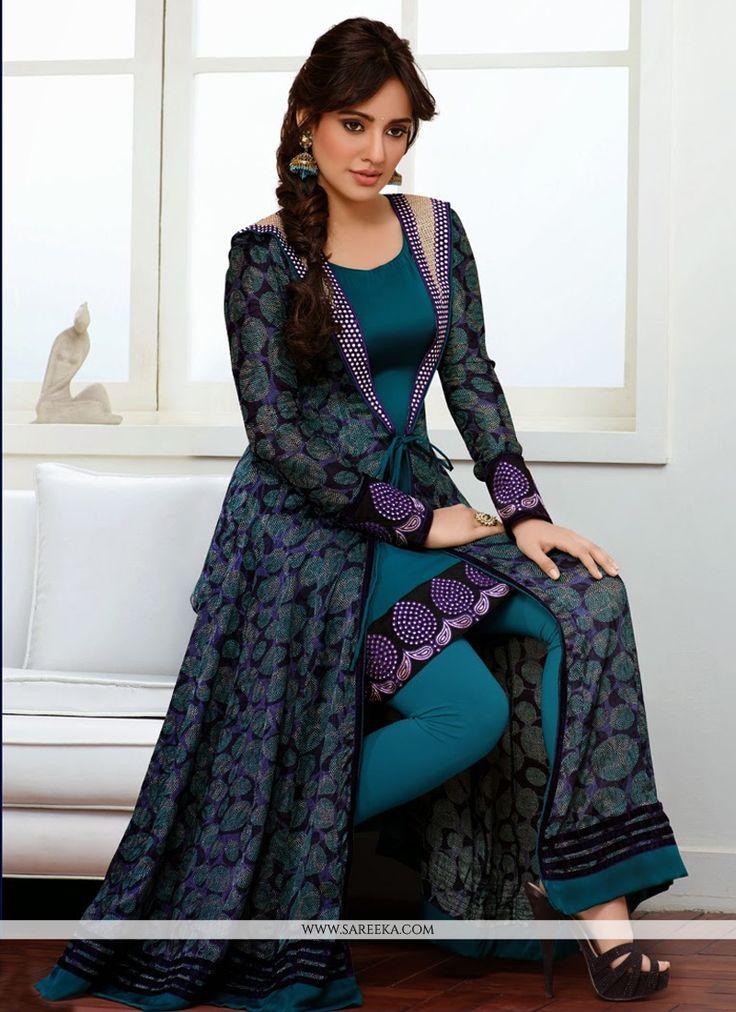 Blue Resham Work Faux Georgette Anarkali Suit