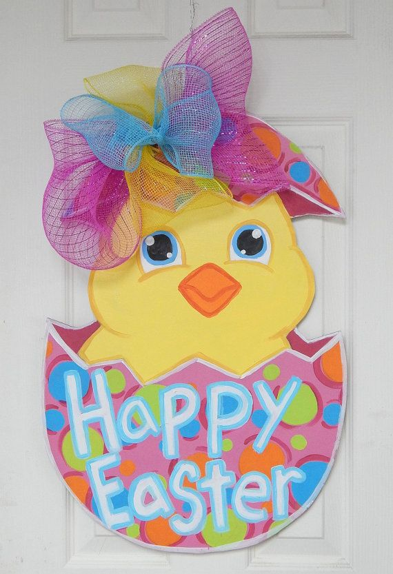 """This is """"Peeps"""" Peeps is an adorable door hanger,perfect for the upcoming Easter/spring season! Peeps is 24"""" tall by 16"""" wide... I have sprinkled the sign with glitter, then added a protective top coat of clear acrylic spray paint. If you would like to purchase this door hanger, you can contact me here.. Or, you can message me at my Facebook page, Art by Audet"""