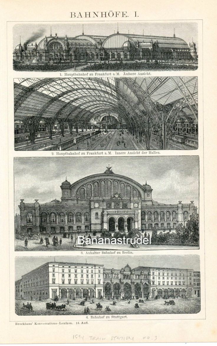 1894 German back-to-back engraving shows magnificent train stations in Stuttgart, Frankfurt, Berlin, Vienna, and Budapest.