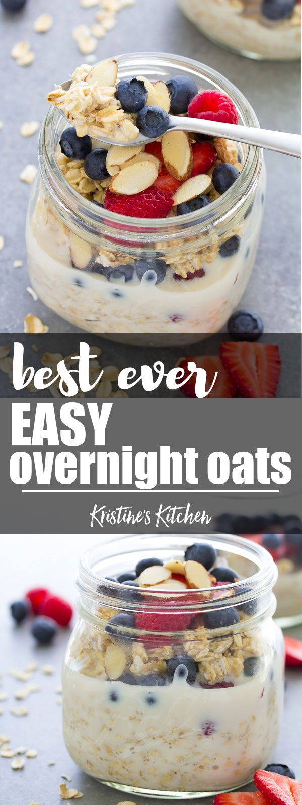 Our favorite easy overnight oats recipe, made with just 4 ingredients and a touch of vanilla. We love this healthy oatmeal topped with fresh berries and almonds! #overnightoats #breakfast #breakfastrecipes #healthyeating #oatmeal #mealprep