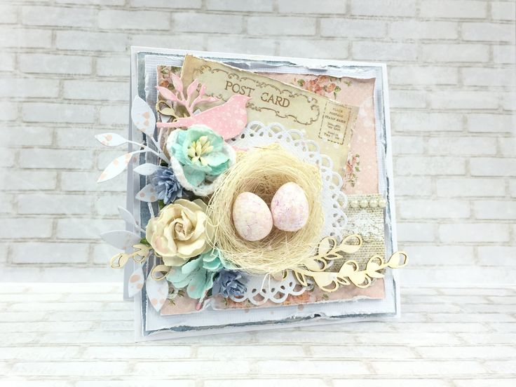 Kartka wielkanocna kurs / Easter card tutorial Shabby chic card, cardmaking