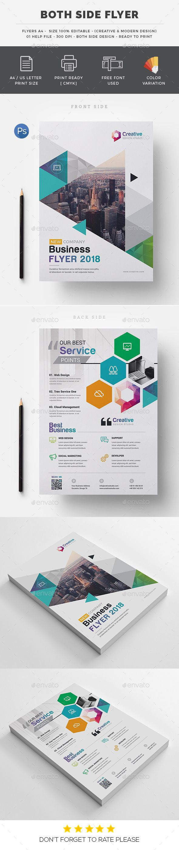 Both Side Flyer #business card #magazine  • Download here → https://graphicriver.net/item/both-side-flyer/20600290?ref=pxcr