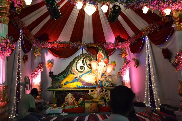 17 best images about ganpati 2015 on pinterest green for Background decoration for ganesh festival