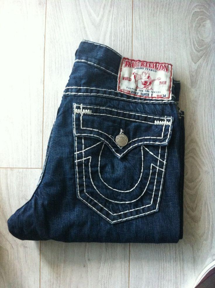 true religion jeans men 39 s pre owned ricky super t dark blue denim boot cut jean pants casual. Black Bedroom Furniture Sets. Home Design Ideas