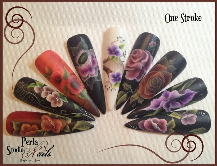 One stroke nail art, beautiful work learned from Kika Ujvari #nailartonestroke #nailart #nails