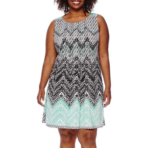 Perceptions Sleeveless Chevron Dress ($40) ❤ liked on Polyvore featuring plus size women's fashion, plus size clothing, plus size dresses, plus size, womens plus dresses, plus size chevron print dress, perceptions dresses and women plus size dresses