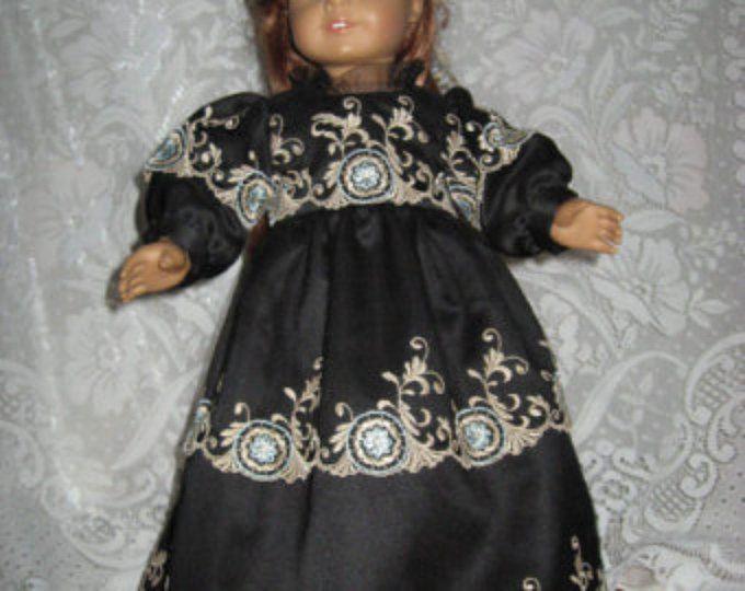 VENTA!!!!   OOAK negro importado Vestido de encaje de tul bordado con accesorios para muñeca American Girl