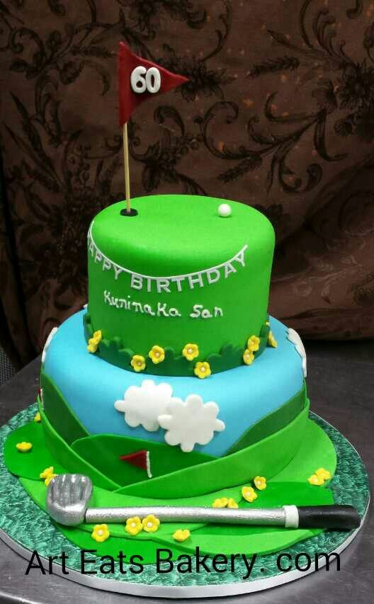 Custom Green And Blue Fondant Golf 60 Th Birthday Cake