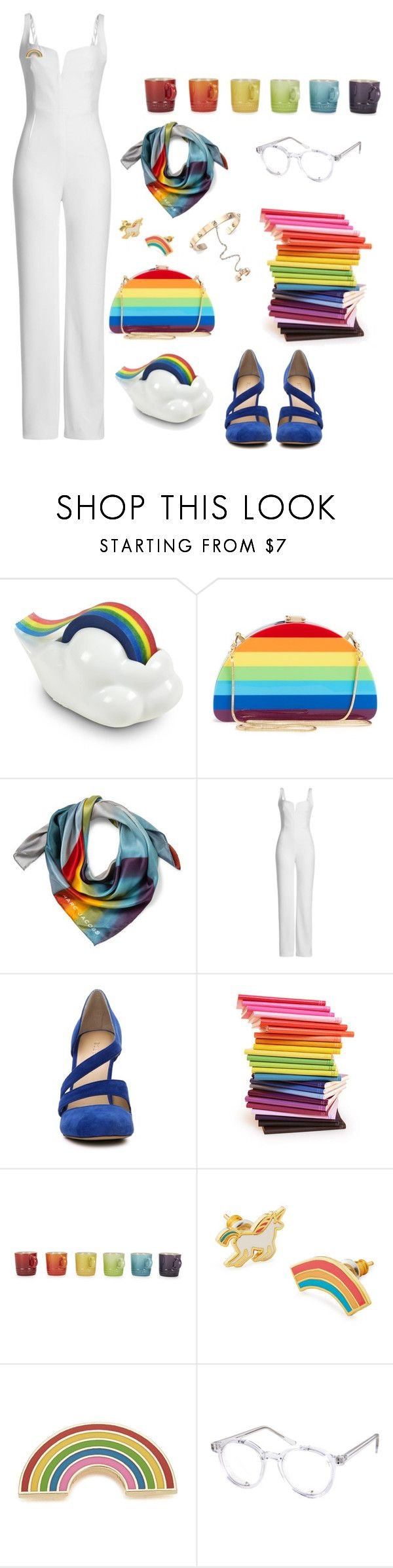 """Rainbow office"" by rebellious-ingenue ❤ liked on Polyvore featuring Fred & Friends, Milly, Marc Jacobs, Galvan, BCBGeneration, Paperthinks, Le Creuset, Yellow Owl Workshop, Georgia Perry and Spitfire"