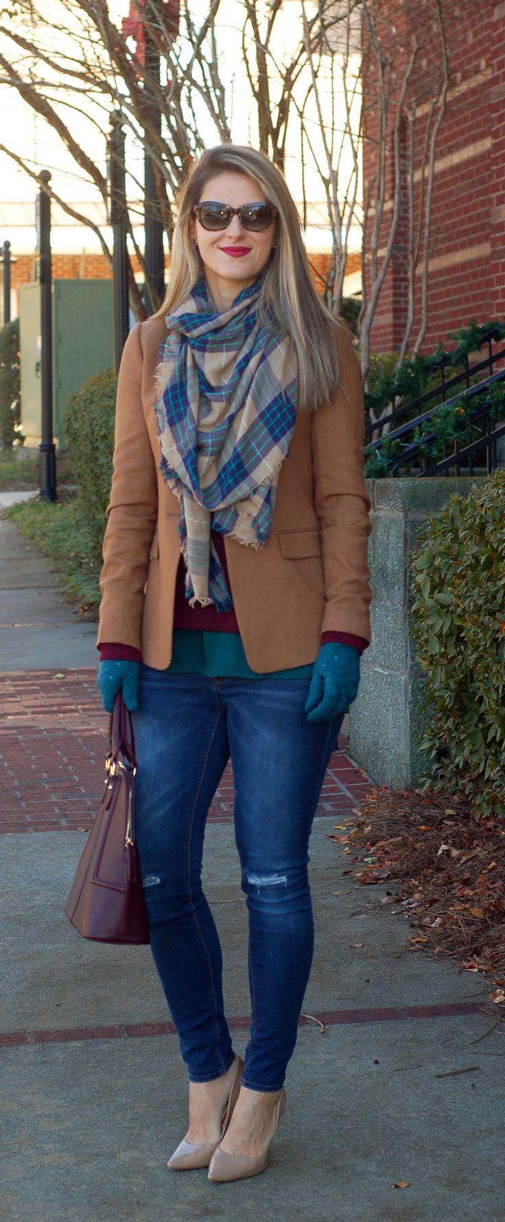 Teodora's Lookbook - camel blazer, burgundy purse, teal accessories