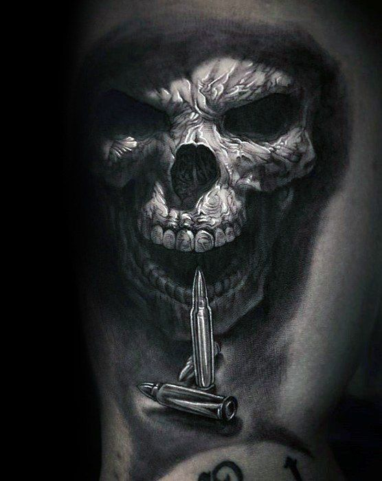 Detailed 3d Realistic Guys Unique Skull With Bullets Arm Tattoo