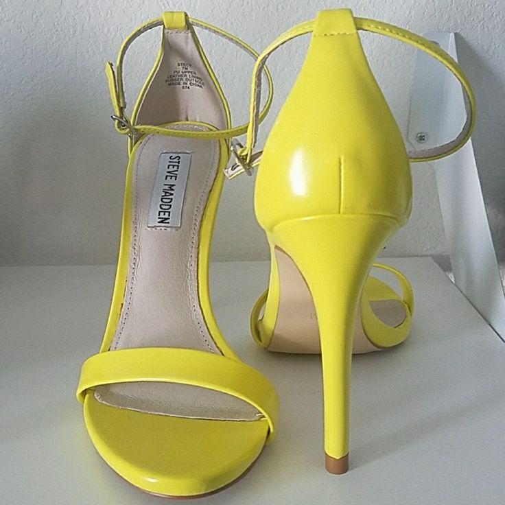 Steve Madden Stecy Neon Yellow Strap Heels.