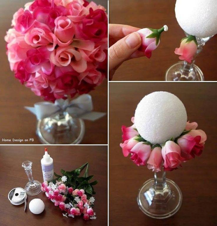 Un bouquet a partir d'une boule de polystyrène